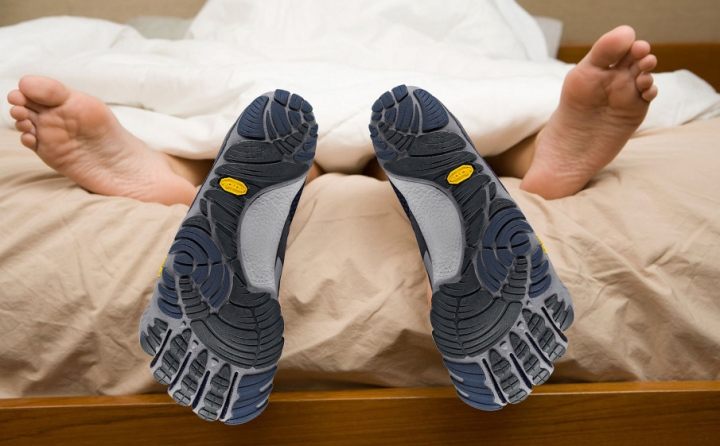 shoes in the bed